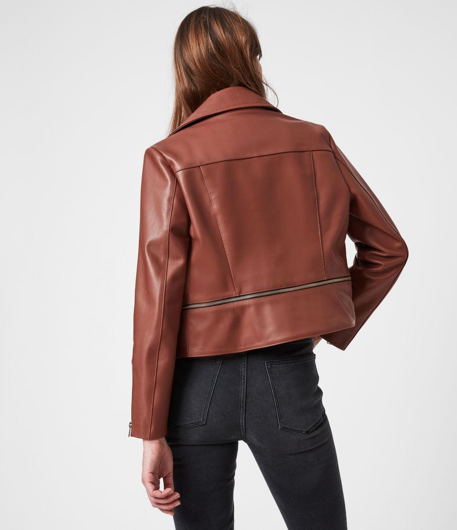 Femmes Wren Leather Biker Jacket (tan_brown) - Image 7