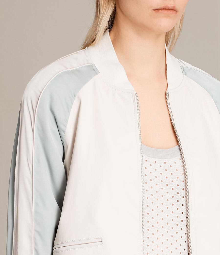 Women's Varley Leather Bomber Jacket (white_lunar_blue) - Image 2