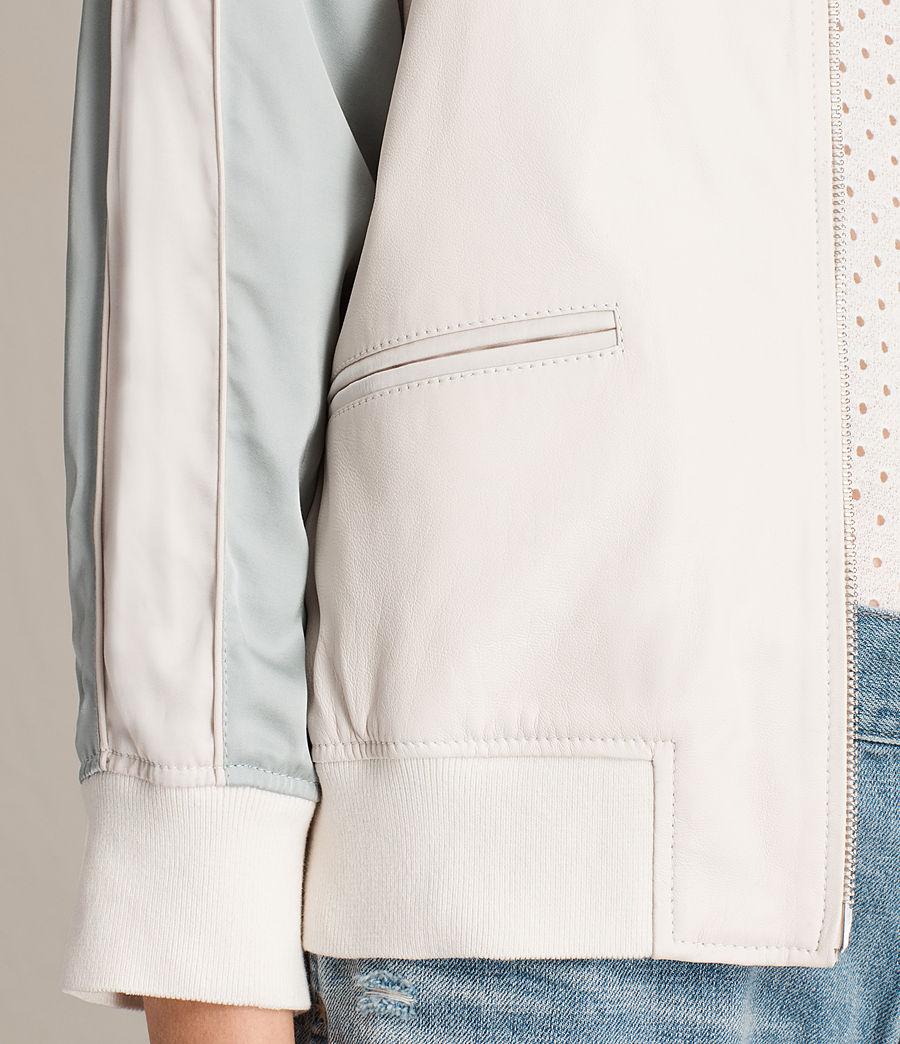 Women's Varley Leather Bomber Jacket (white_lunar_blue) - Image 3