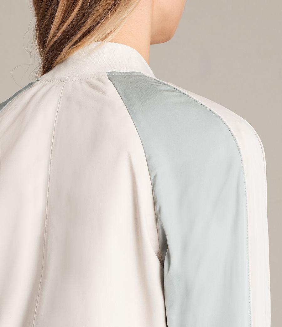 Women's Varley Leather Bomber Jacket (white_lunar_blue) - Image 5