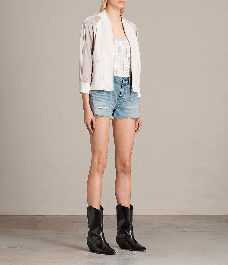 Women's Varley Leather Bomber Jacket (white_washed_pink) - Image 3