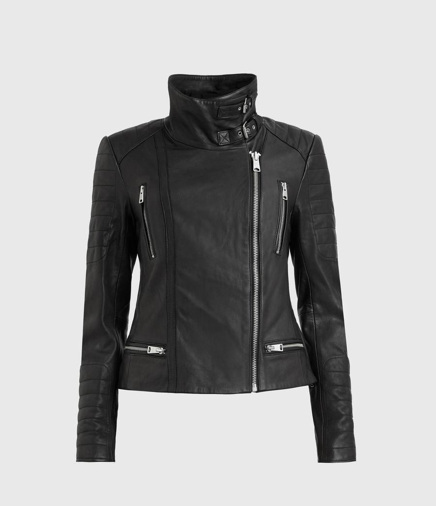 Mujer Steine Leather Biker Jacket (black) - Image 1