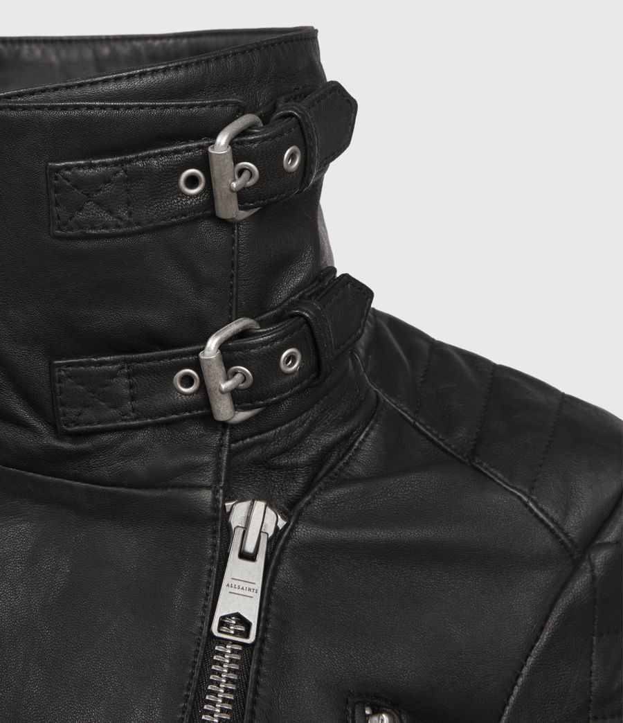 Mujer Steine Leather Biker Jacket (black) - Image 3