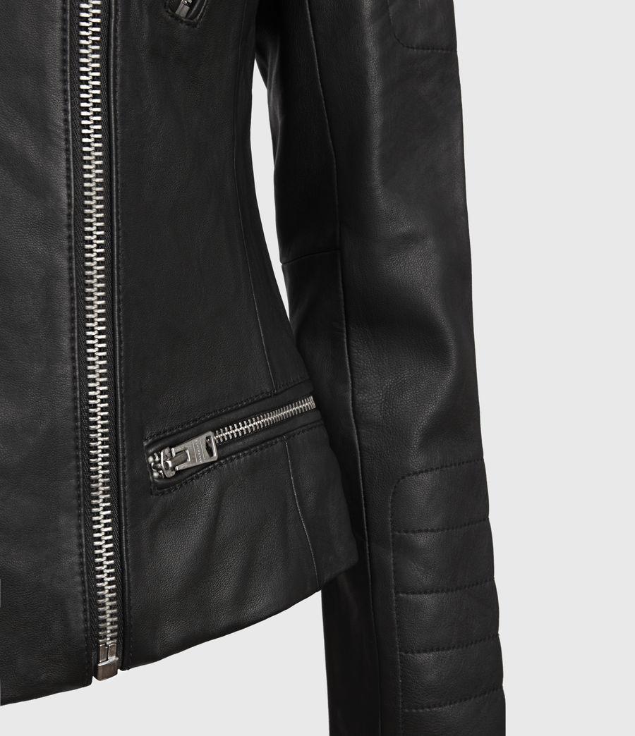 Mujer Steine Leather Biker Jacket (black) - Image 4
