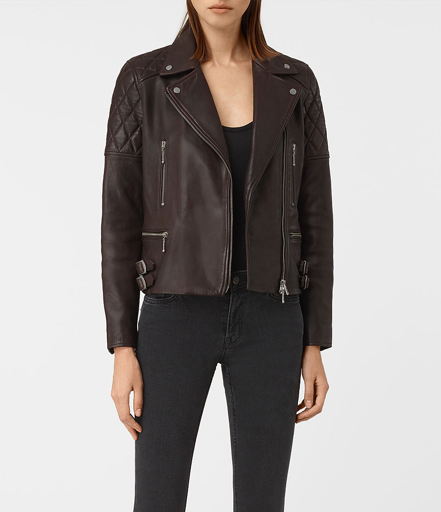 Womens Armstead Leather Biker Jacket (oxblood_red) - Image 1