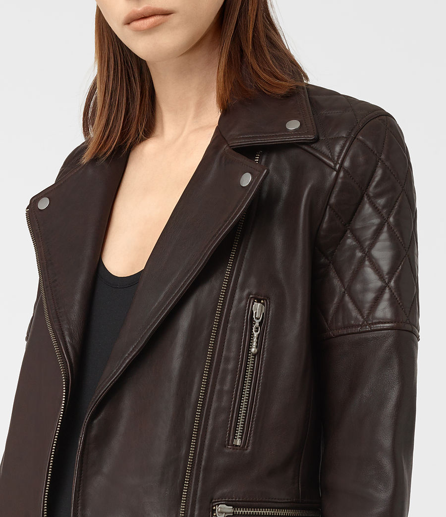 Womens Armstead Leather Biker Jacket (oxblood_red) - Image 3