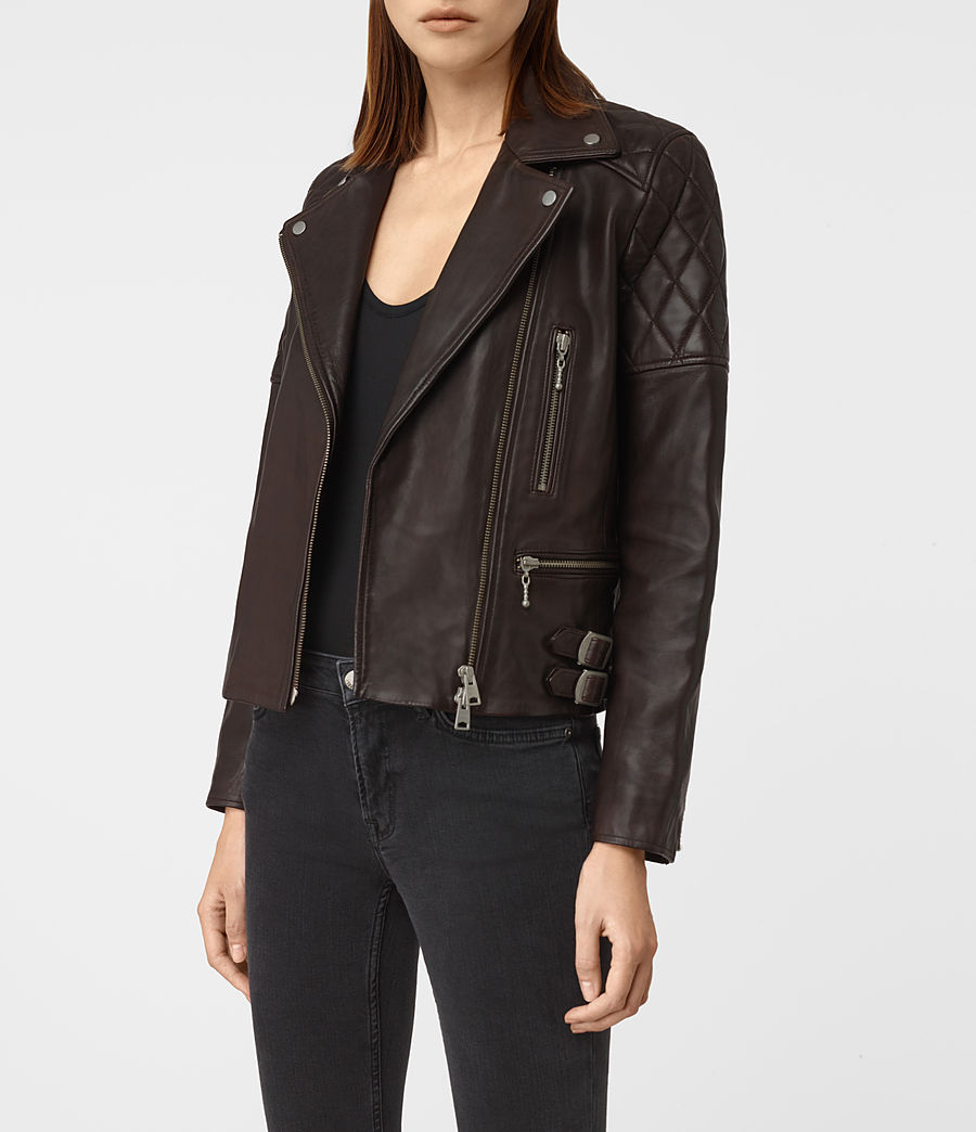 Womens Armstead Leather Biker Jacket (oxblood_red) - Image 4