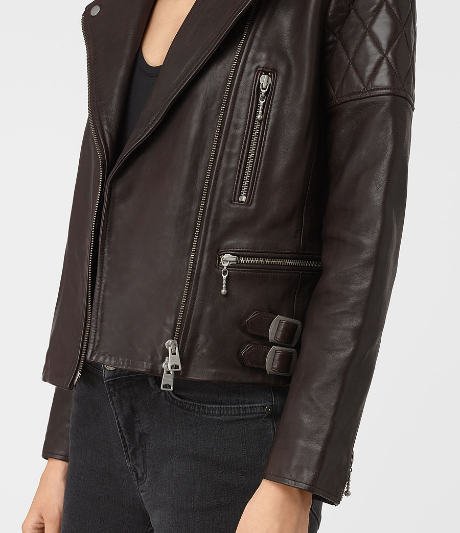 Womens Armstead Leather Biker Jacket (oxblood_red) - Image 5
