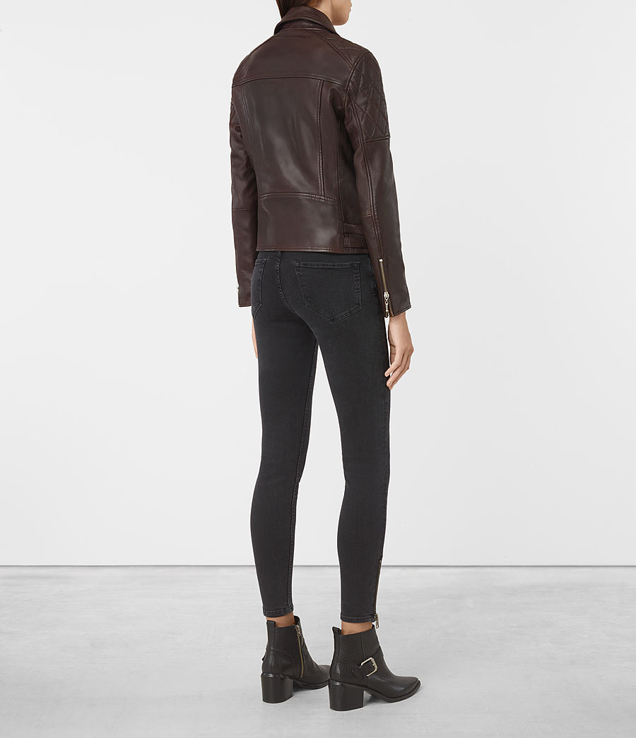 Mujer Armstead Leather Biker Jacket (oxblood_red) - Image 6