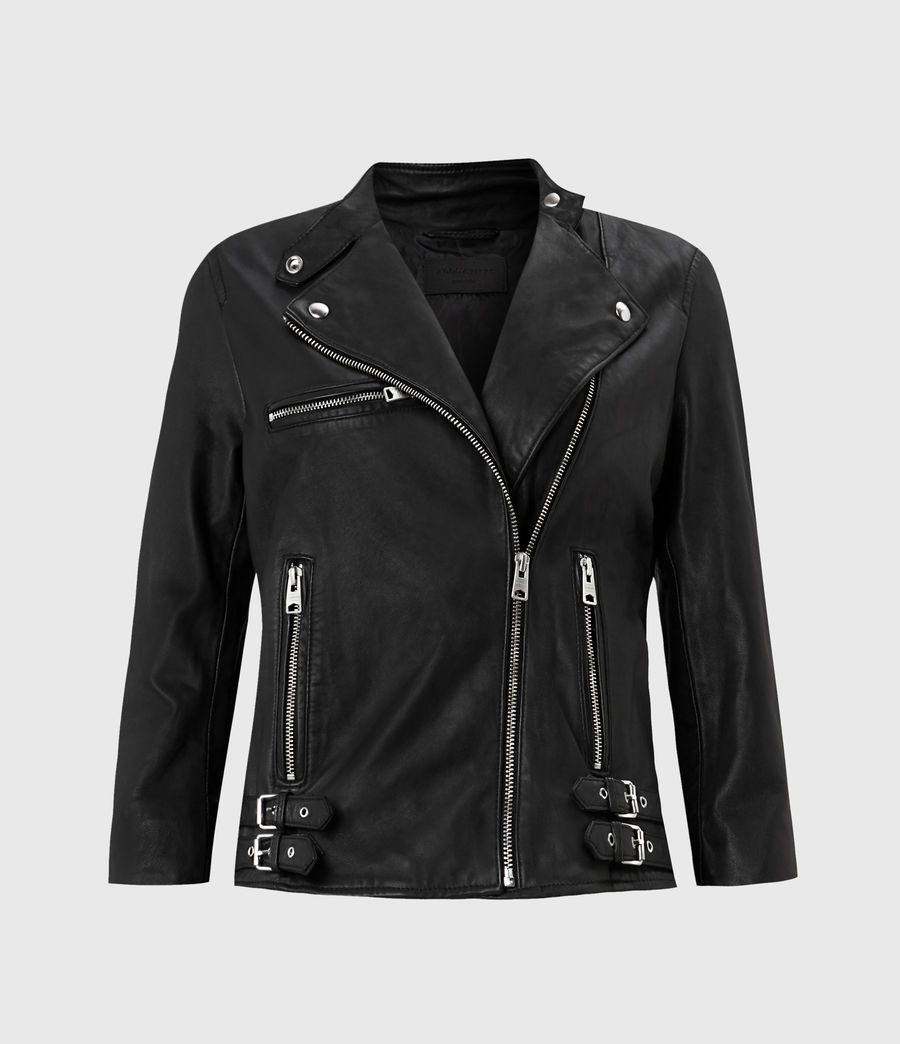 Women's Turne Leather Biker Jacket (black) - Image 1