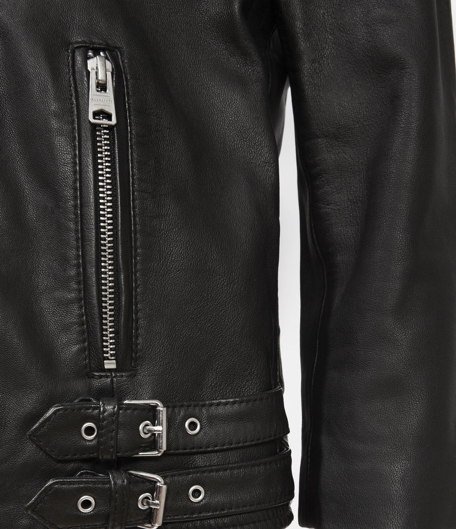 Women's Turne Leather Biker Jacket (black) - Image 3