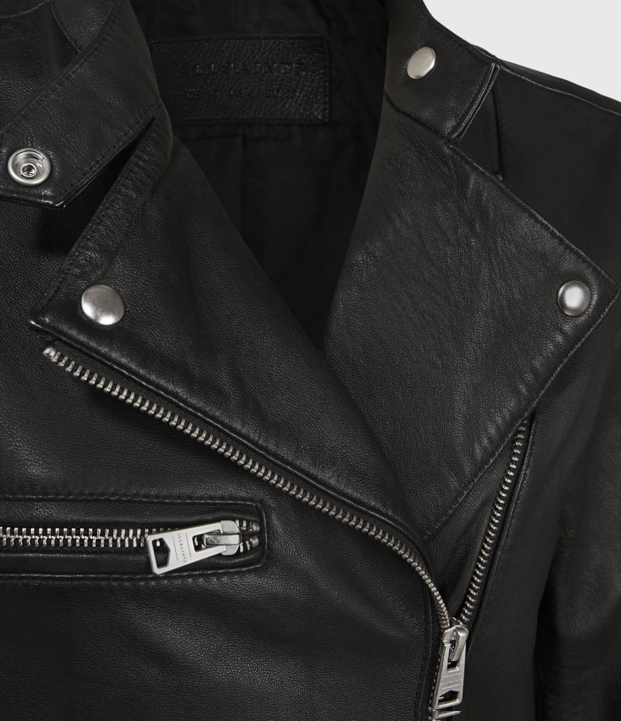 Women's Turne Leather Biker Jacket (black) - Image 4
