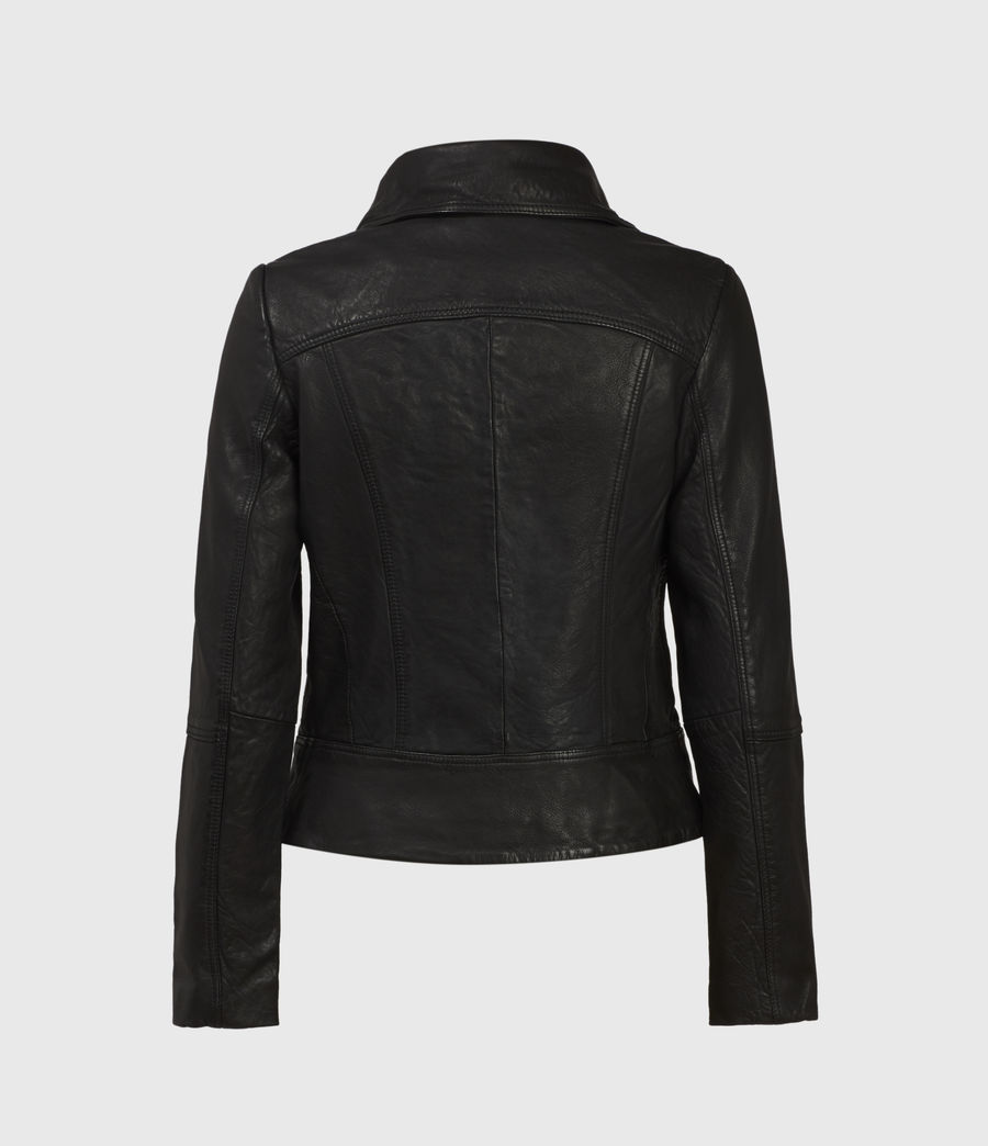 Women's Belvedere Leather Biker Jacket (black) - Image 1