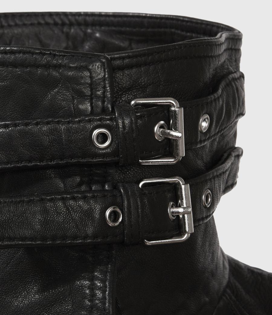 Women's Belvedere Leather Biker Jacket (black) - Image 2
