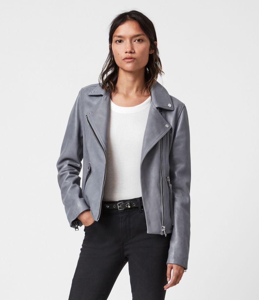 Femmes Dalby Leather Biker Jacket (airforce_blue) - Image 1