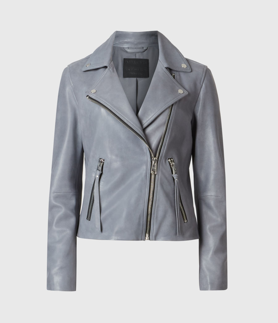 Femmes Dalby Leather Biker Jacket (airforce_blue) - Image 2