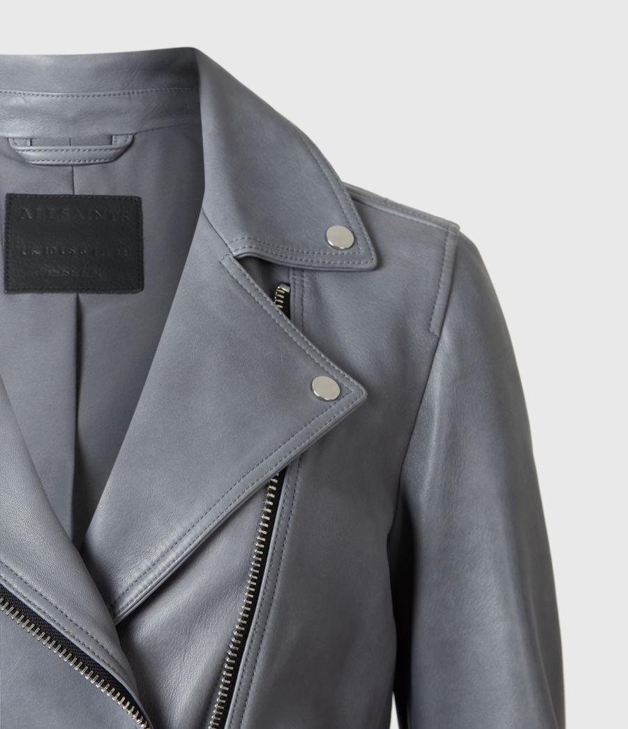 Femmes Dalby Leather Biker Jacket (airforce_blue) - Image 5