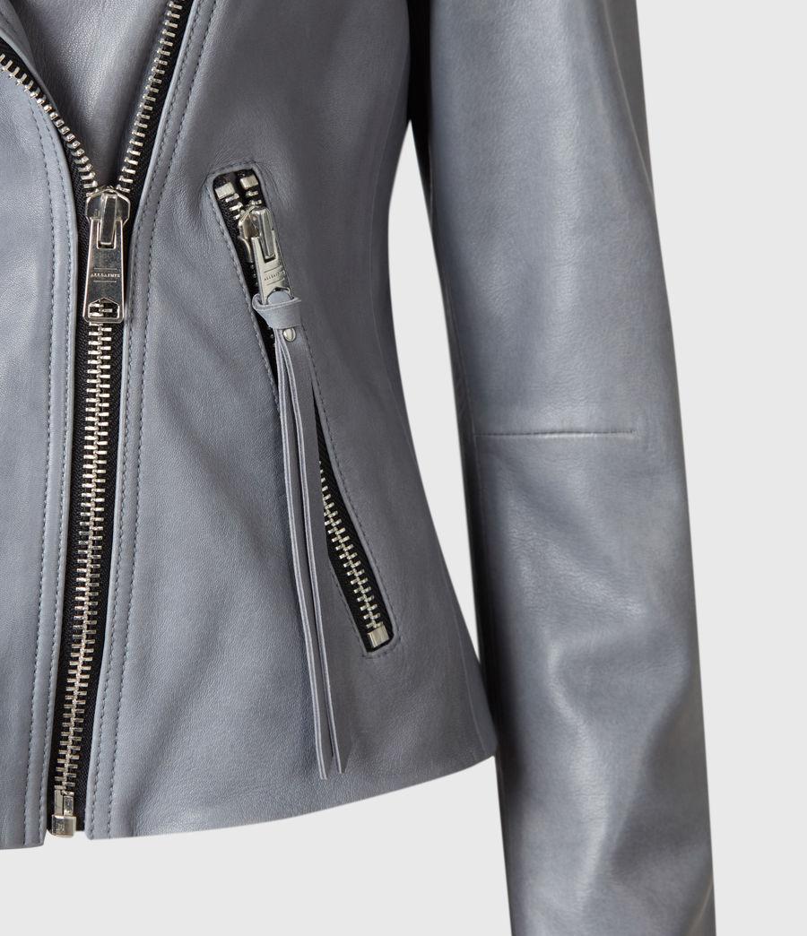 Femmes Dalby Leather Biker Jacket (airforce_blue) - Image 6