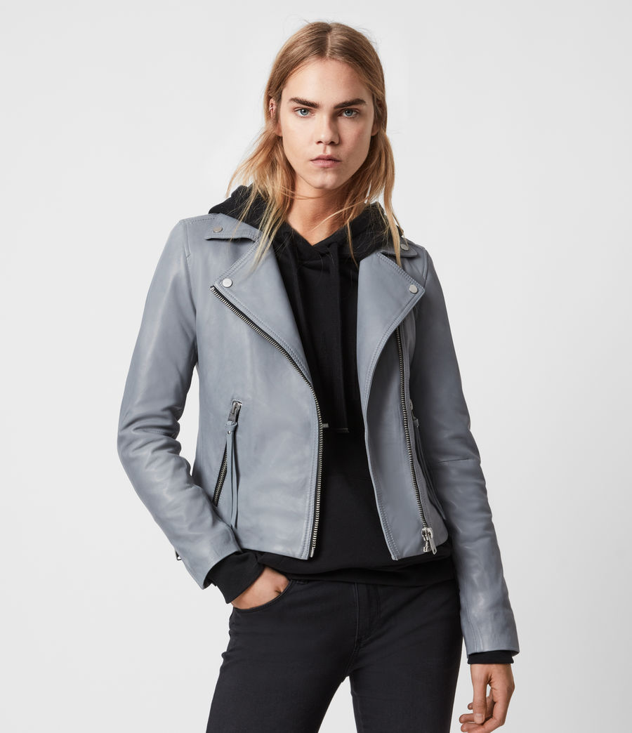Women's Dalby Leather Biker Jacket (sky_blue) - Image 1