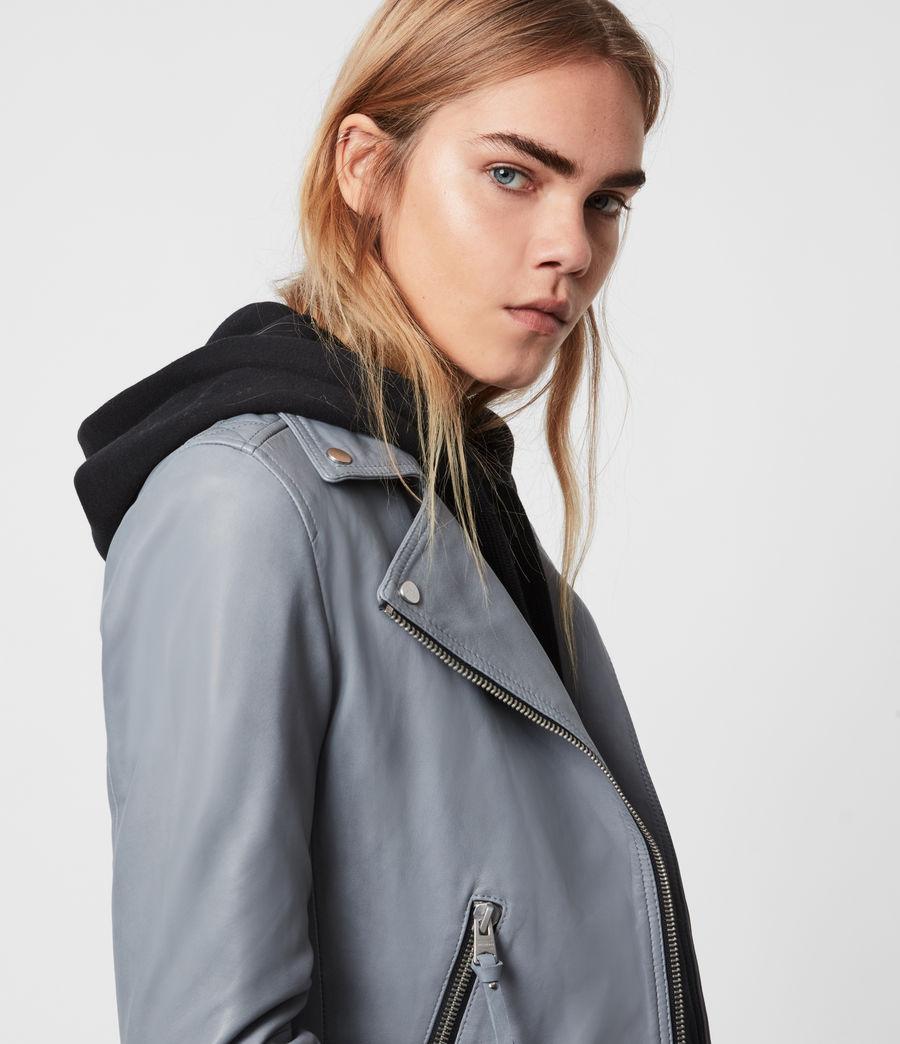 Damen Dalby Leather Bikerjacke (sky_blue) - Image 2