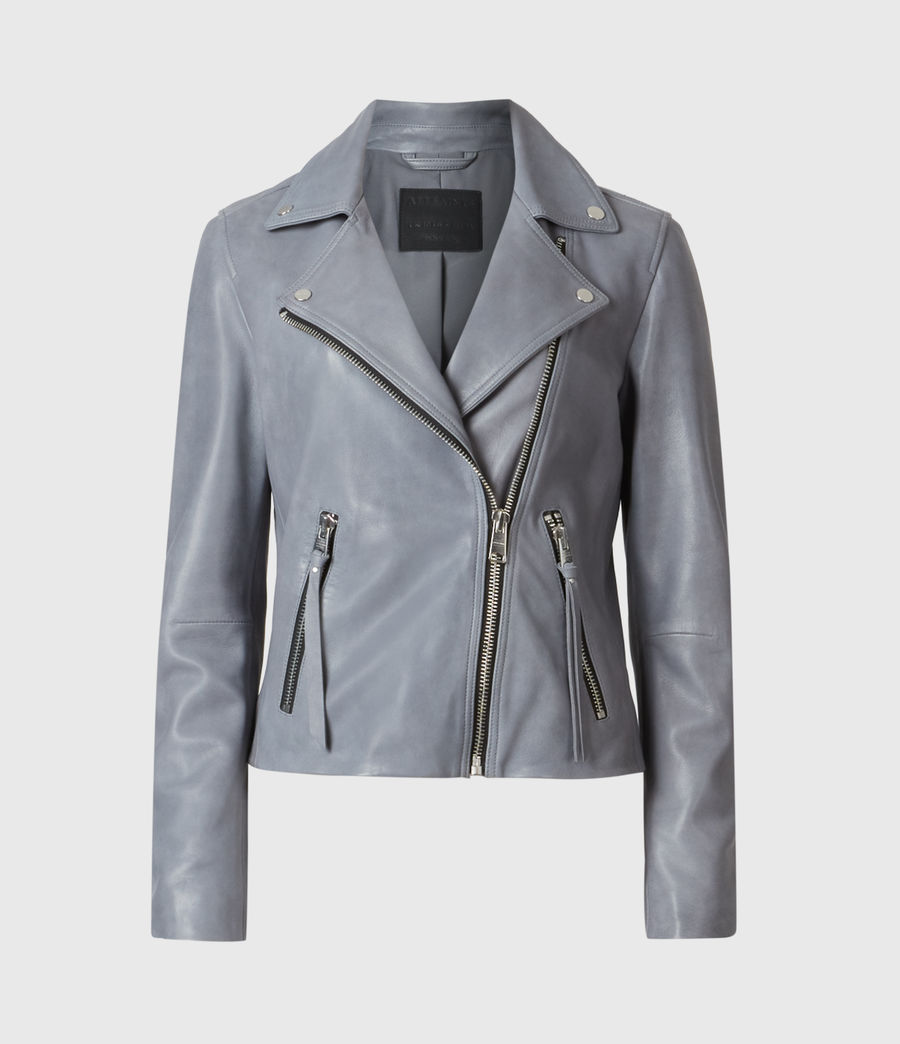 Women's Dalby Leather Biker Jacket (sky_blue) - Image 4