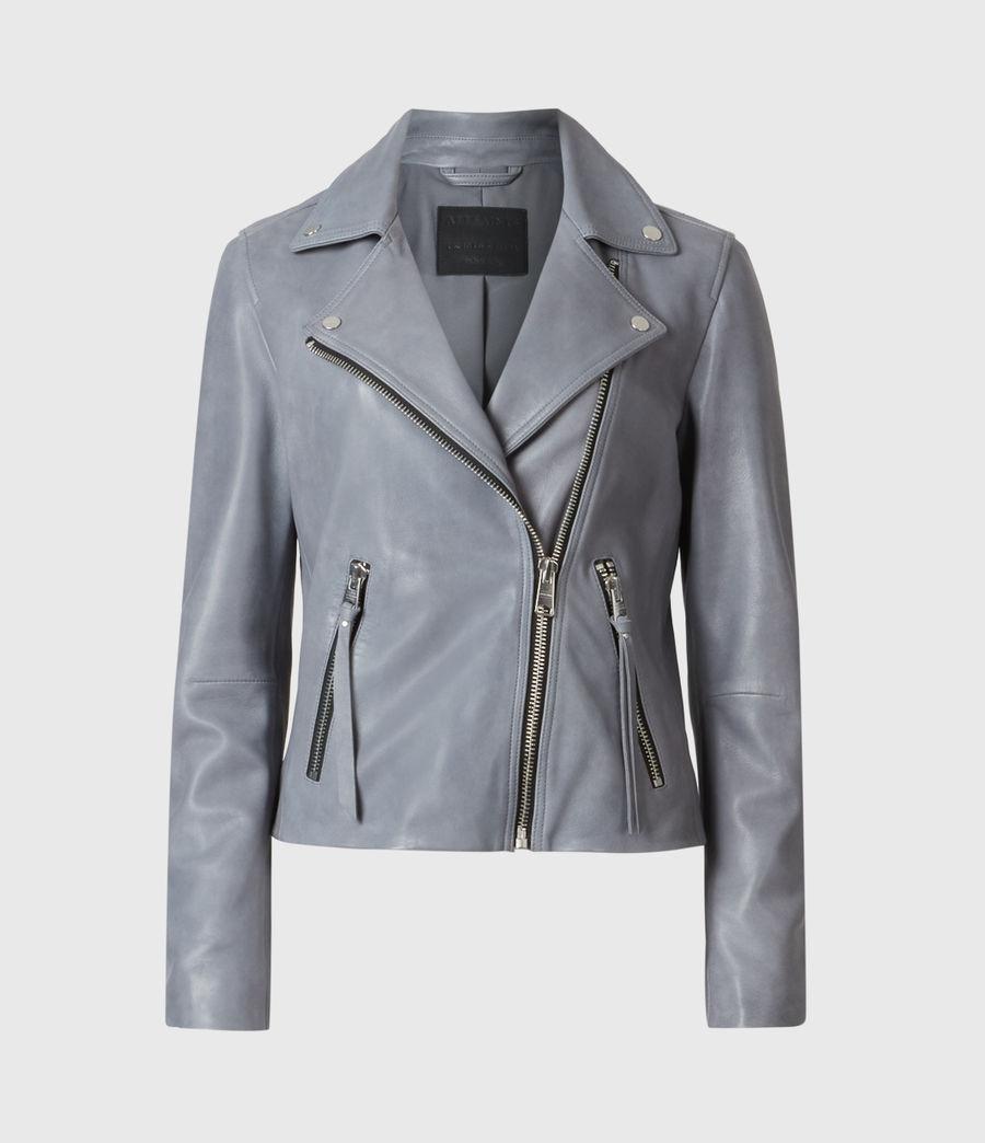Damen Dalby Leather Bikerjacke (sky_blue) - Image 4