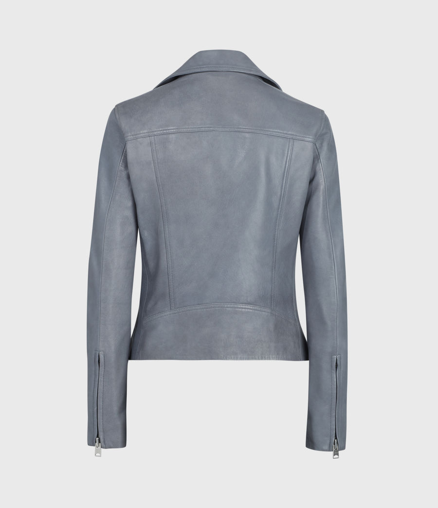 Women's Dalby Leather Biker Jacket (sky_blue) - Image 5