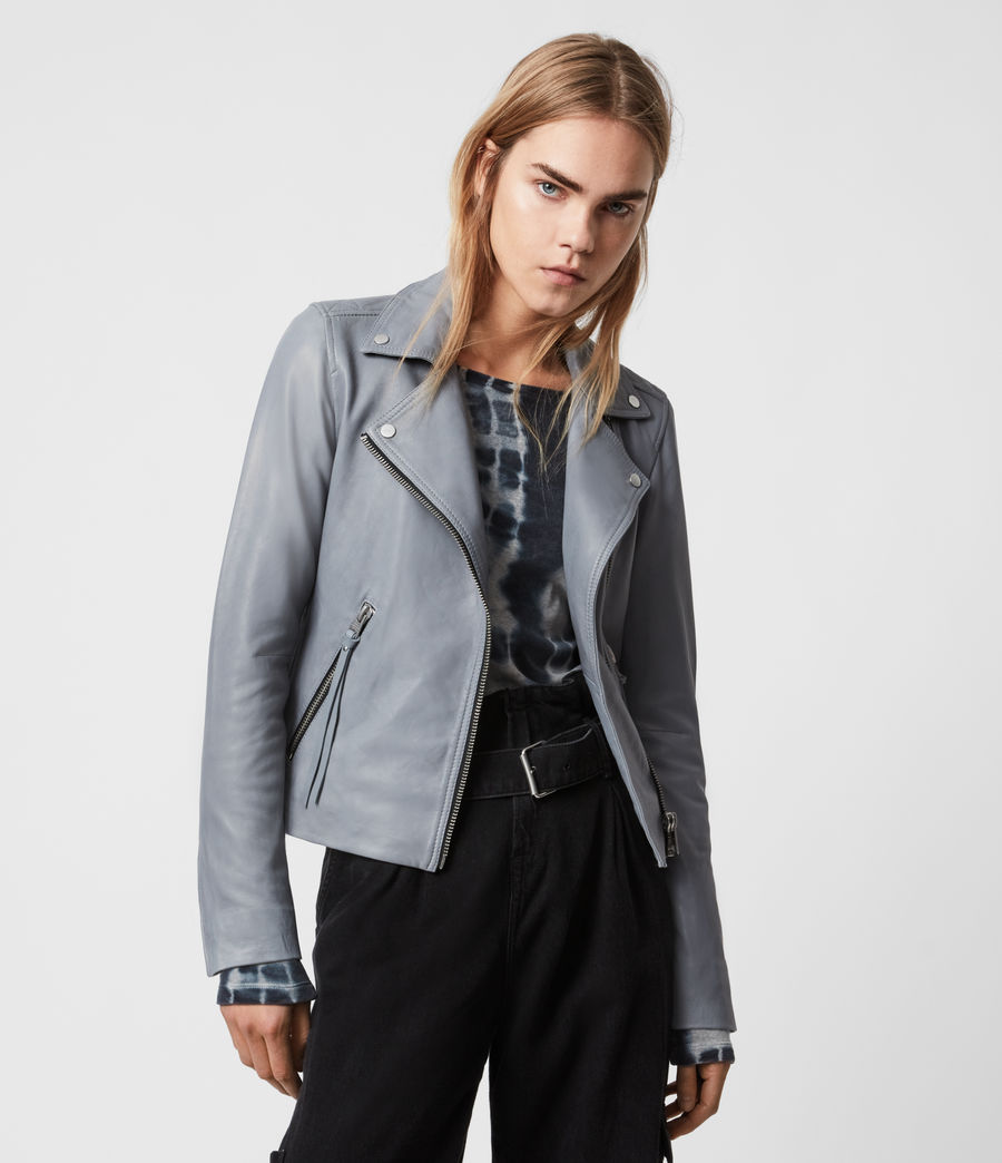 Women's Dalby Leather Biker Jacket (sky_blue) - Image 6