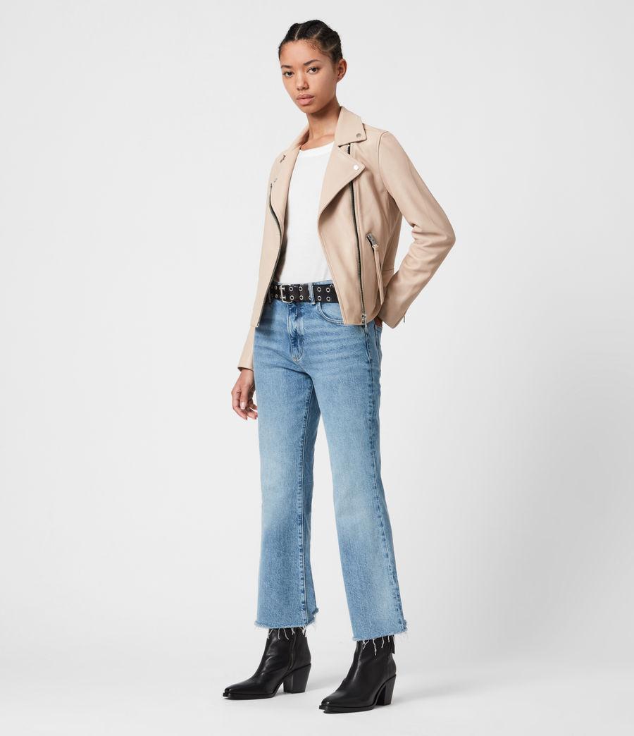 Women's Dalby Leather Biker Jacket (pale_pink) - Image 1