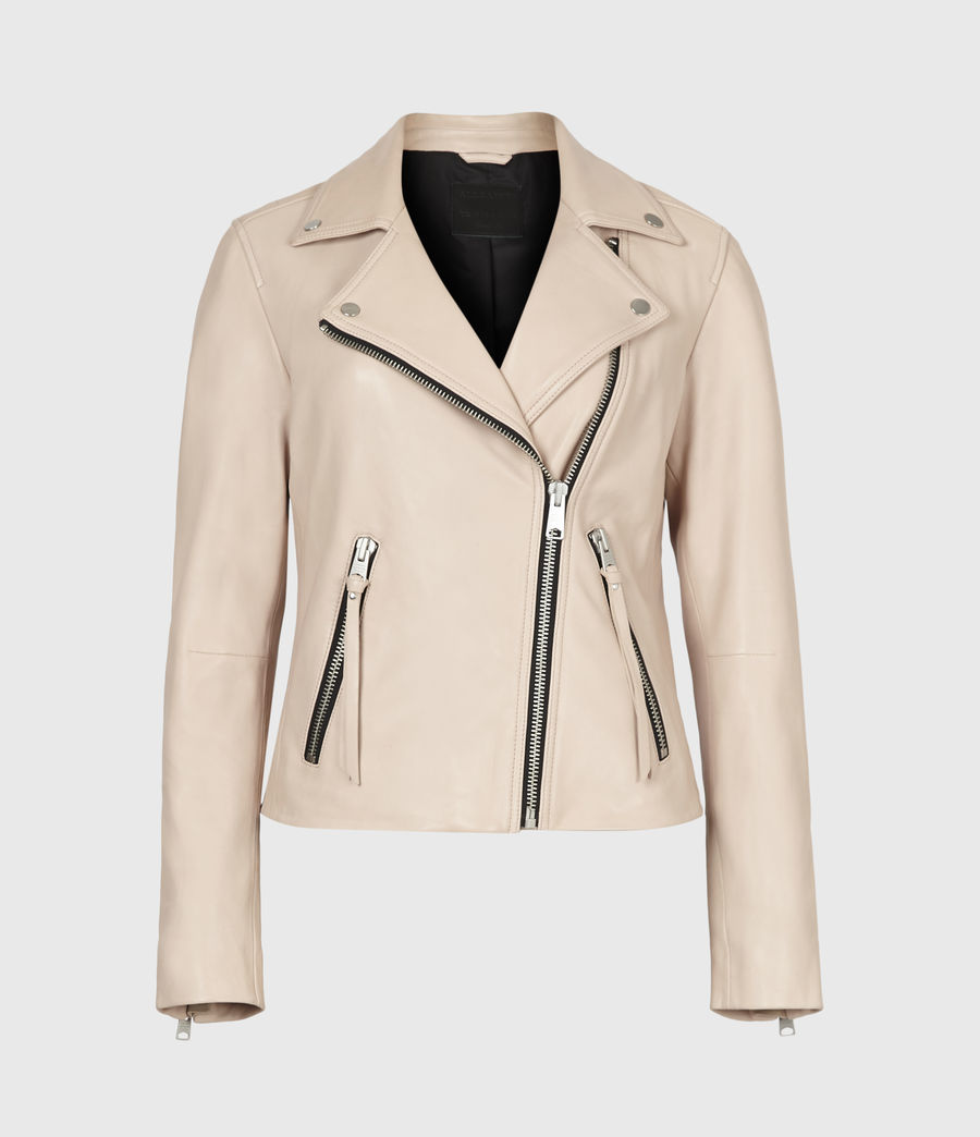 Women's Dalby Leather Biker Jacket (pale_pink) - Image 2