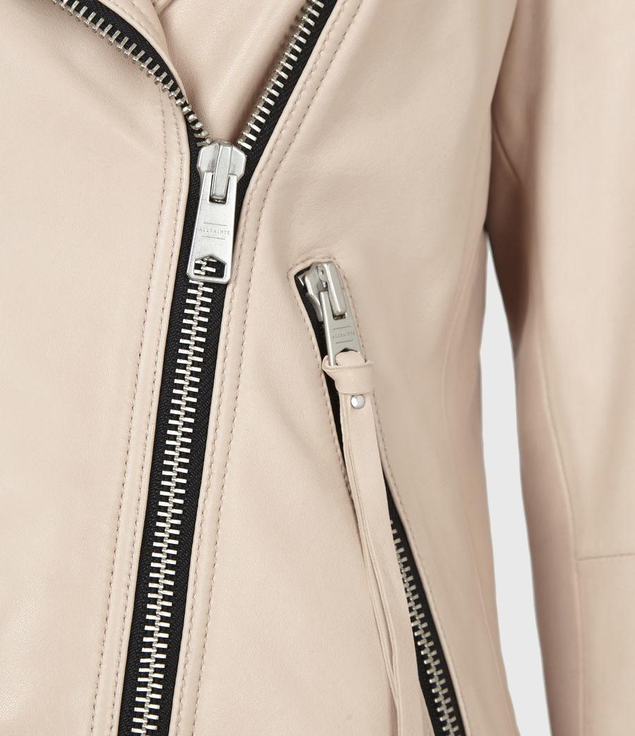 Women's Dalby Leather Biker Jacket (pale_pink) - Image 5