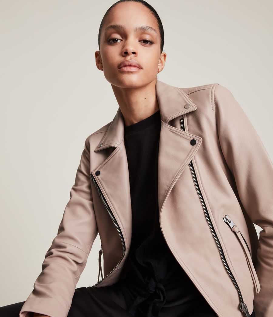 Womens Dalby Leather Biker Jacket (rose_water_pink) - Image 2