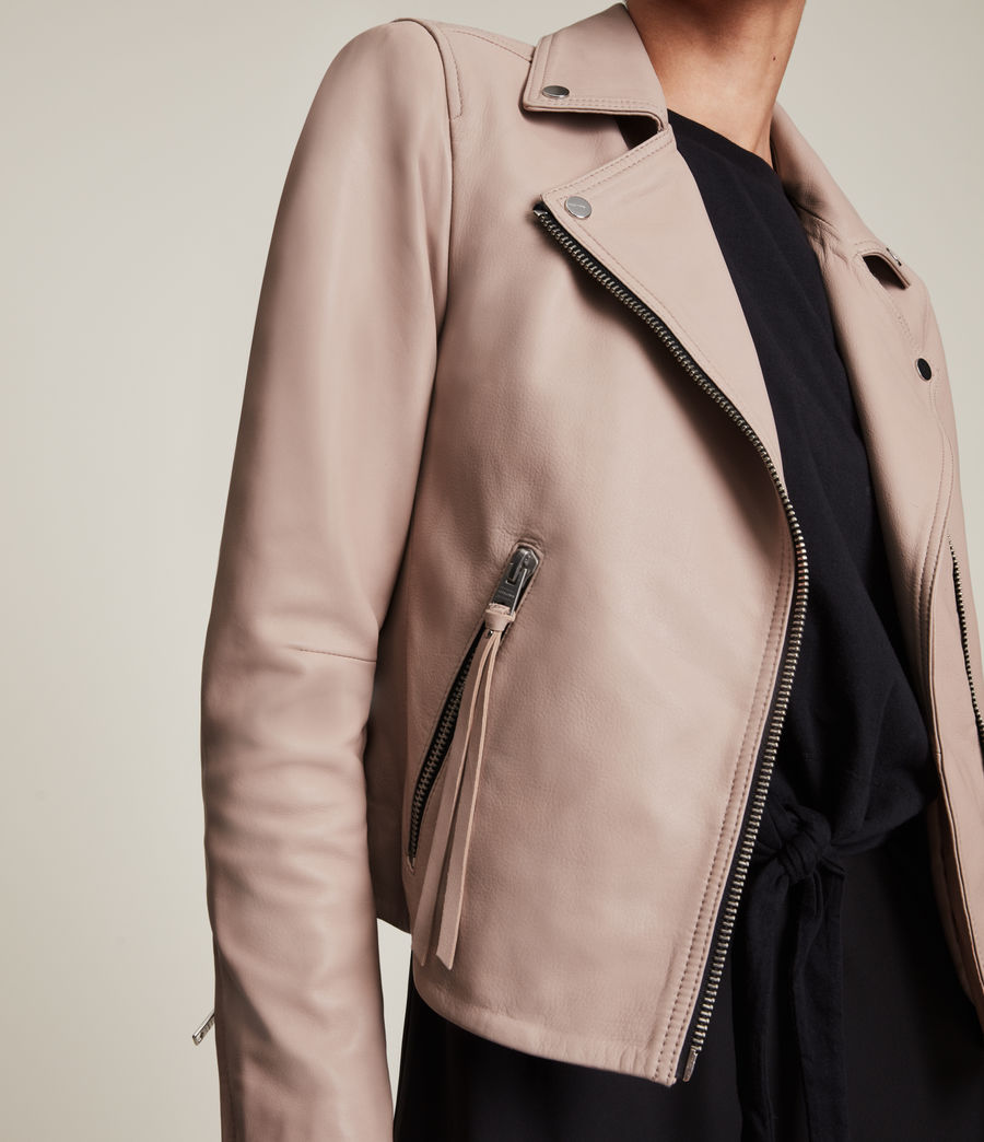 Womens Dalby Leather Biker Jacket (rose_water_pink) - Image 5