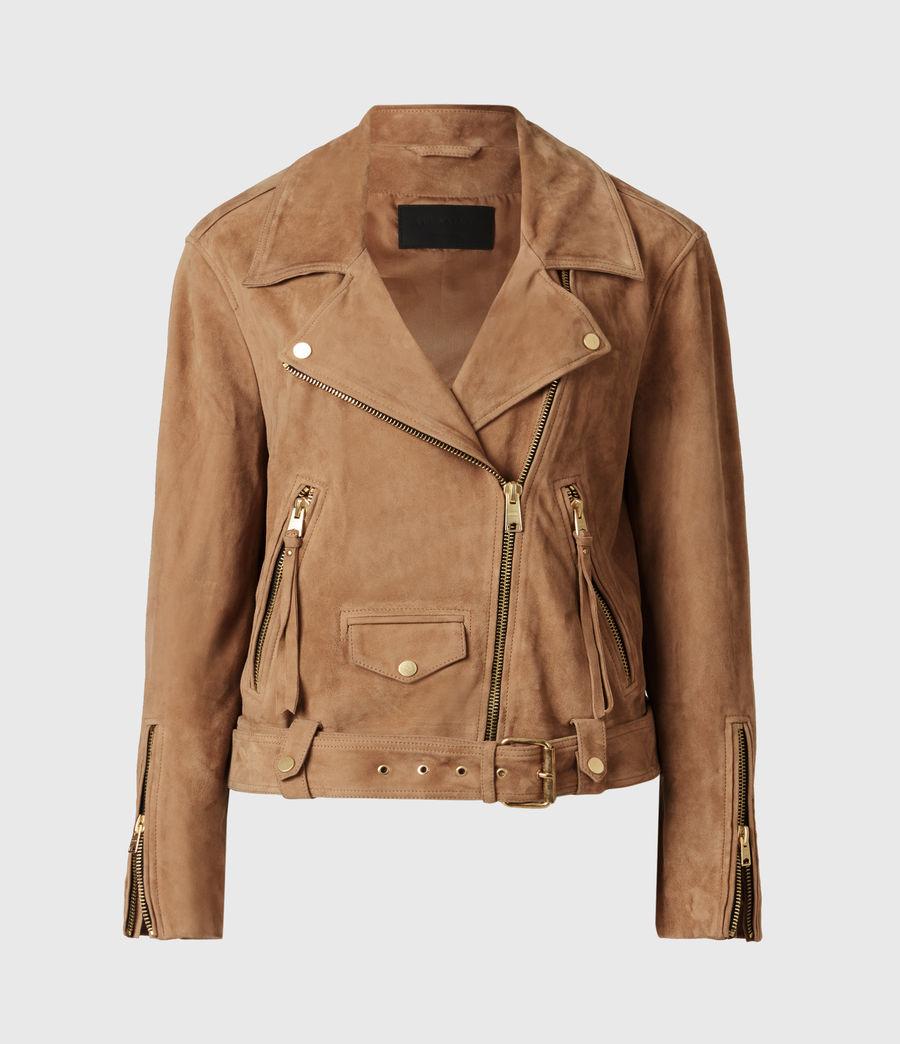 Women's Luna Suede Biker Jacket (tan_brown) - Image 2