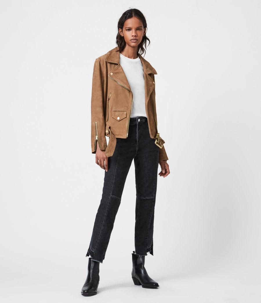 Women's Luna Suede Biker Jacket (tan_brown) - Image 4