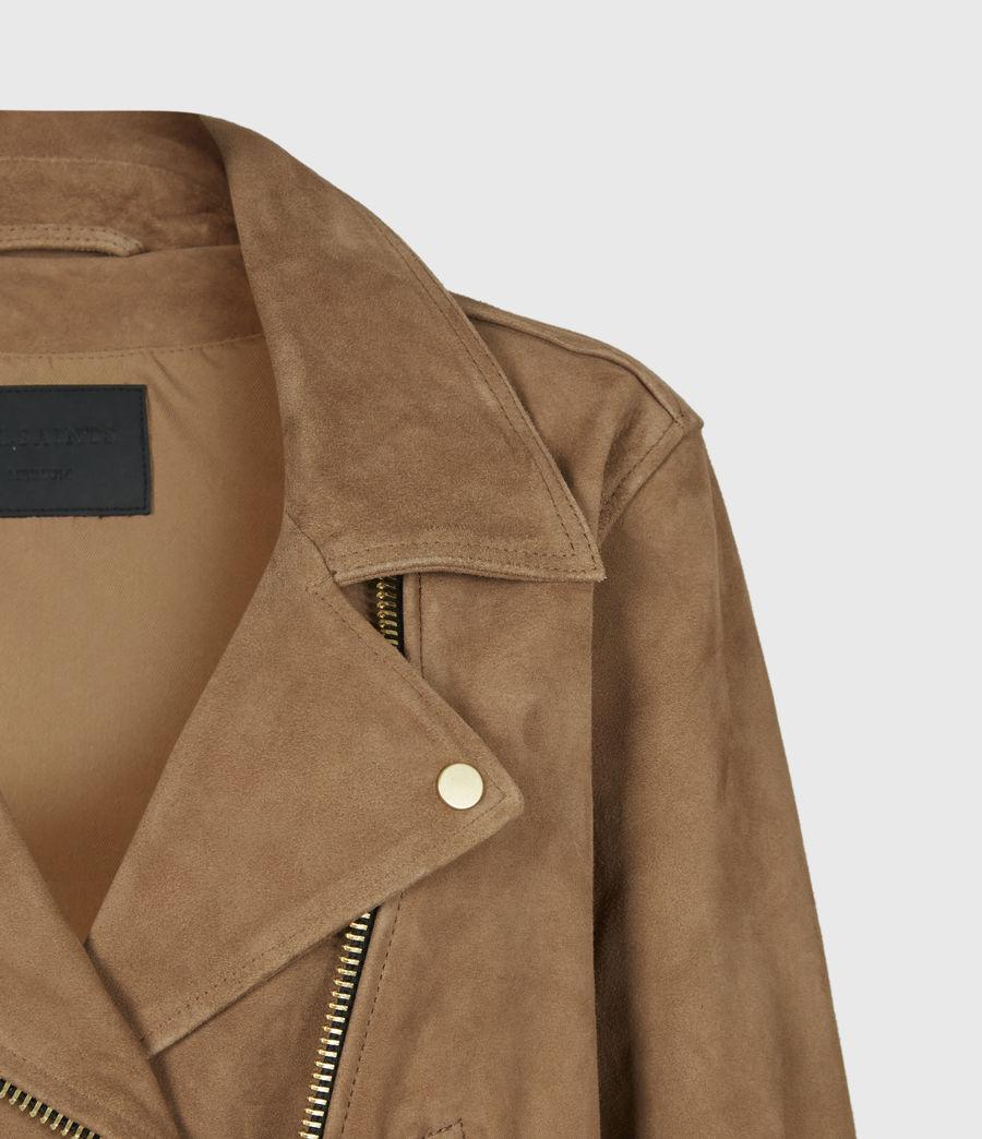 Women's Luna Suede Biker Jacket (tan_brown) - Image 5