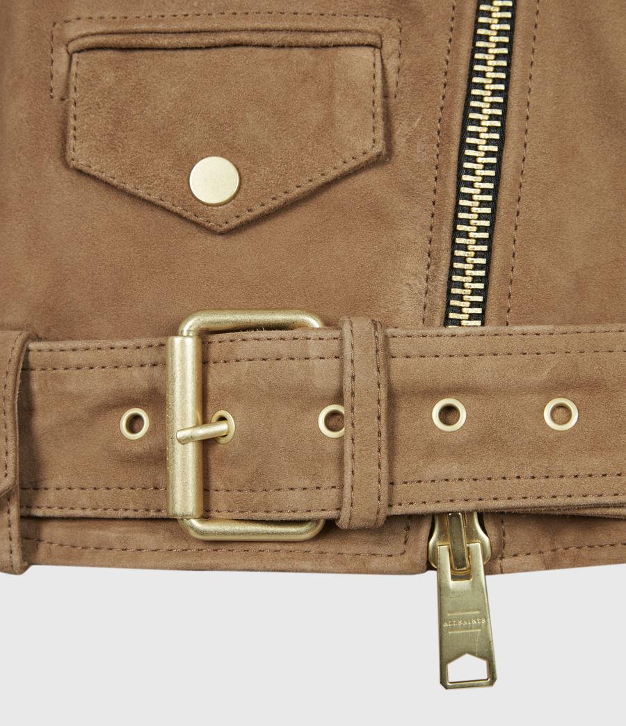 Women's Luna Suede Biker Jacket (tan_brown) - Image 6