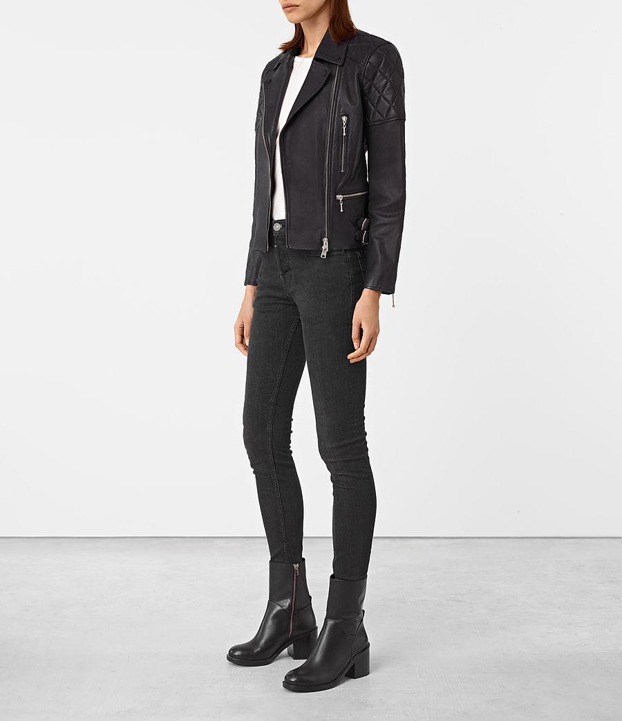 Womens Armstead Leather Biker Jacket (black) - Image 2