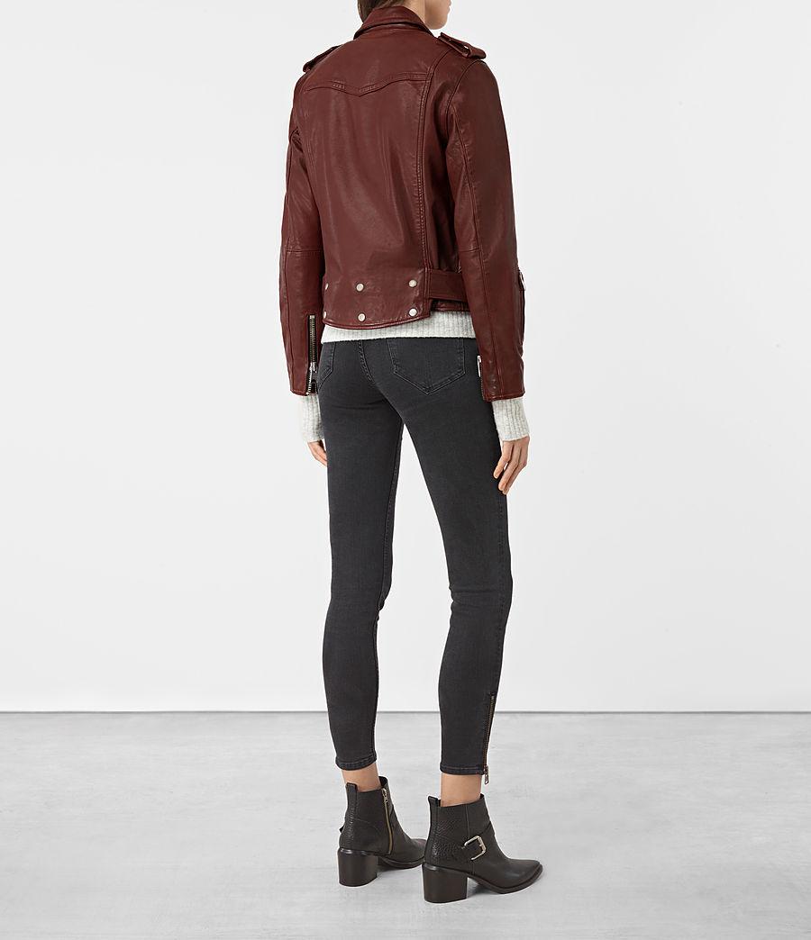 Womens Gidley Leather Biker Jacket (bordeaux_red) - Image 5