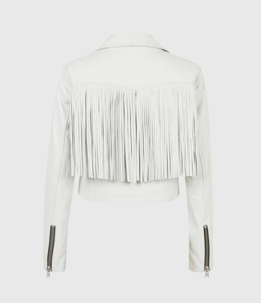 Women's Elora Tassel Leather Biker Jacket (white) - Image 3