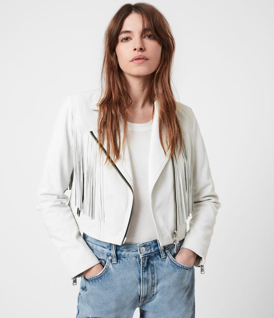 Women's Elora Tassel Leather Biker Jacket (white) - Image 4