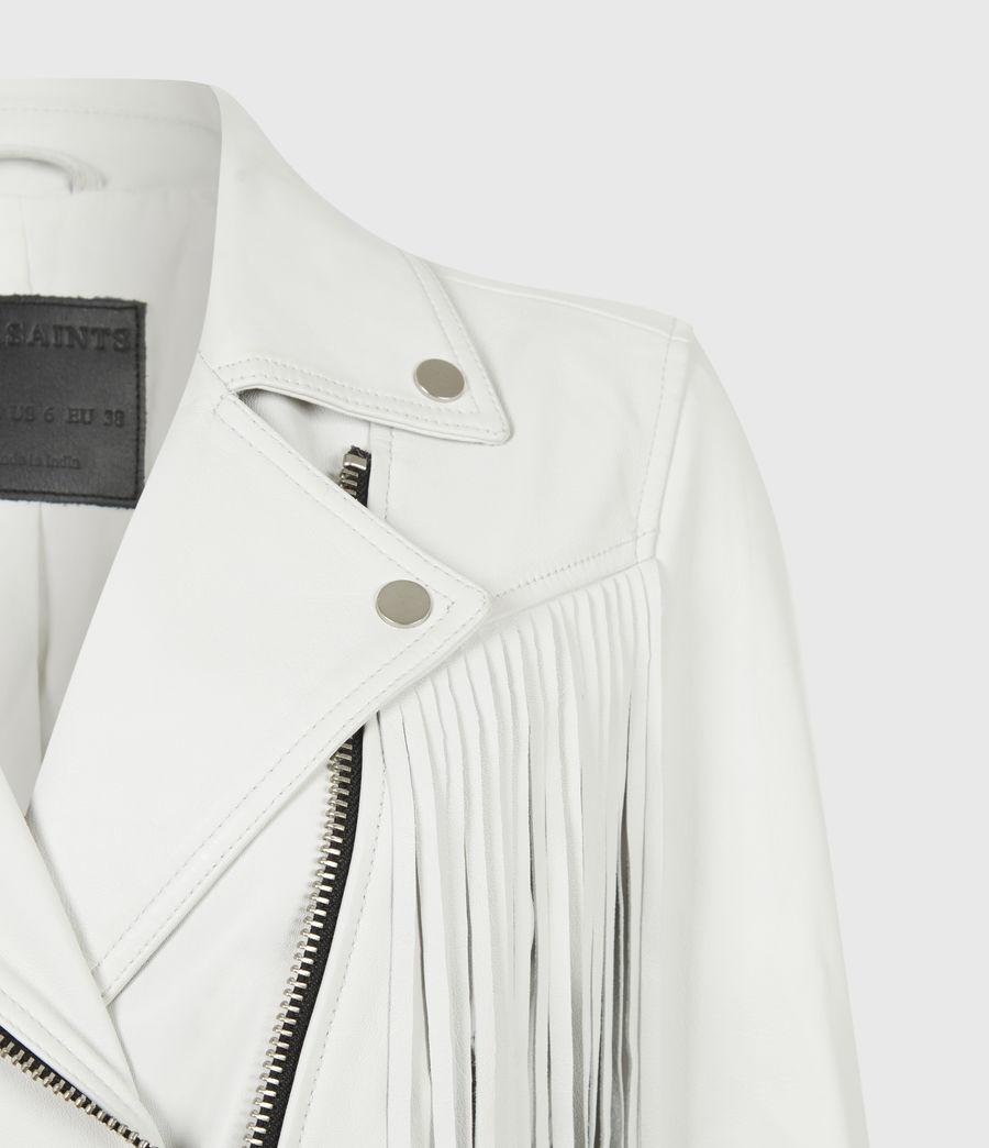 Women's Elora Tassel Leather Biker Jacket (white) - Image 5