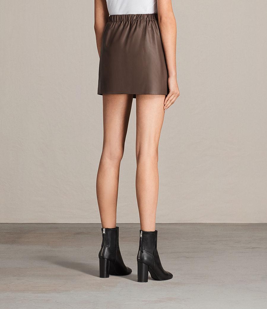 Womens Suko Leather Skirt (battle_brown) - Image 4