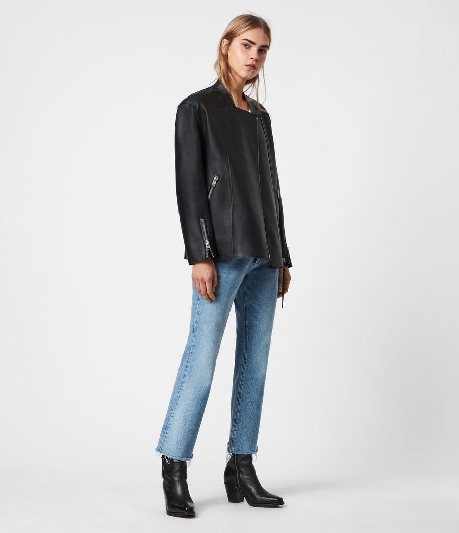 Women's Abbey Leather Jacket (black) - Image 4