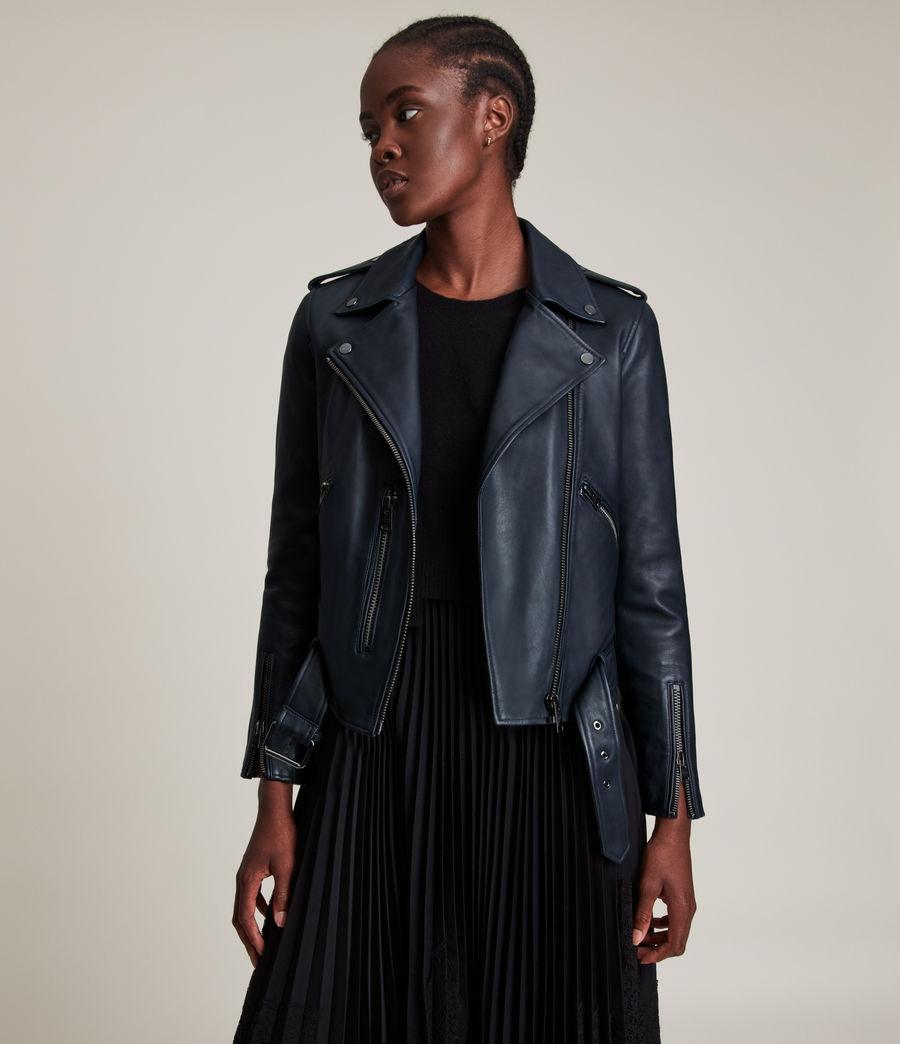 Women's Balfern Leather Biker Jacket (squid_ink_blue) - Image 1