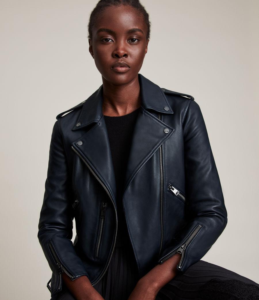 Women's Balfern Leather Biker Jacket (squid_ink_blue) - Image 2