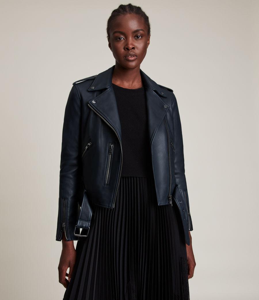 Women's Balfern Leather Biker Jacket (squid_ink_blue) - Image 4