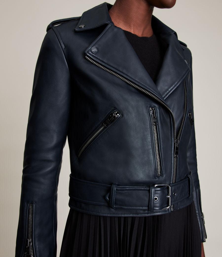 Women's Balfern Leather Biker Jacket (squid_ink_blue) - Image 5