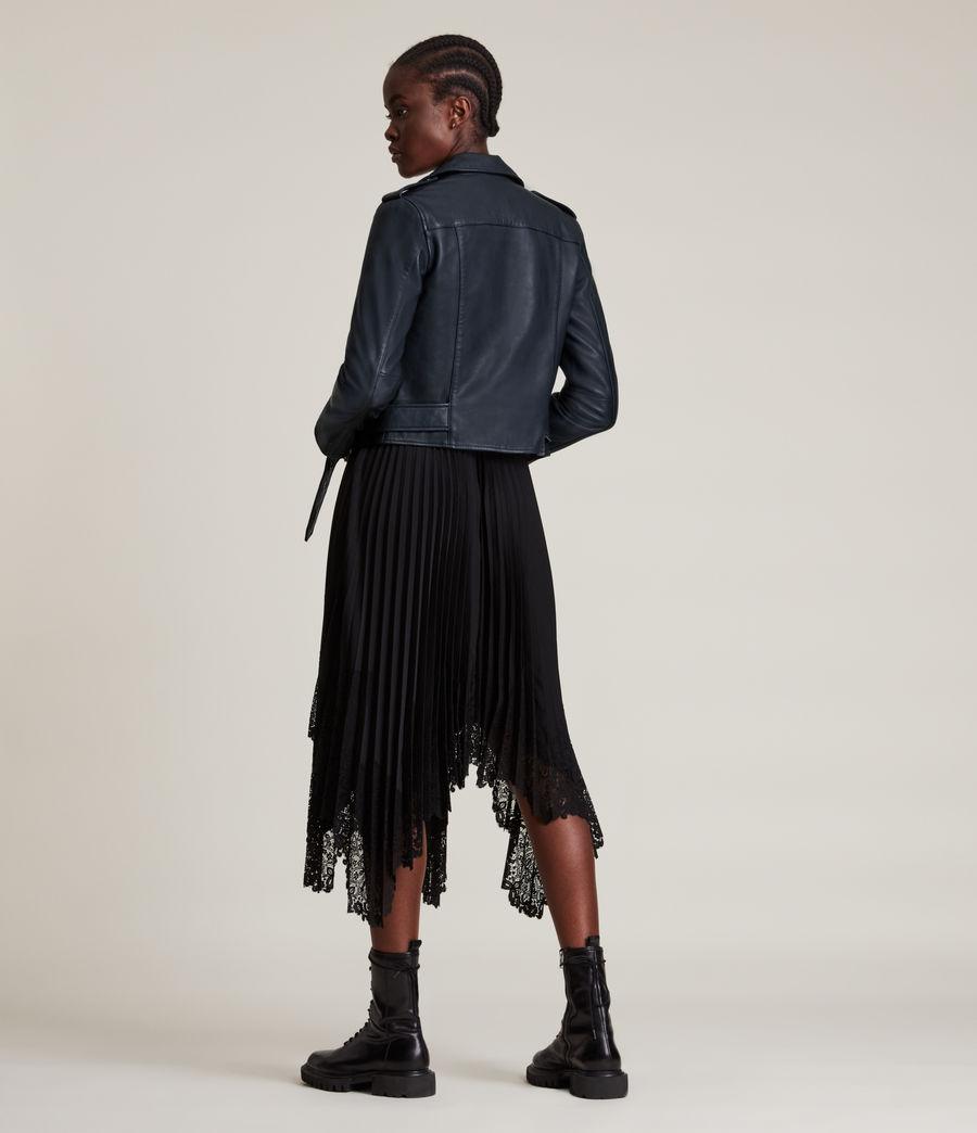 Women's Balfern Leather Biker Jacket (squid_ink_blue) - Image 6