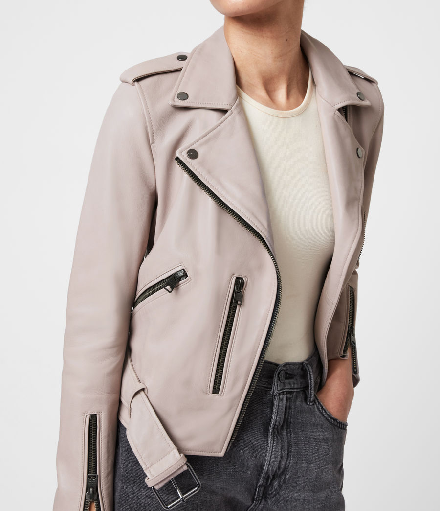 Femmes Balfern Leather Biker Jacket (misty_lilac) - Image 4